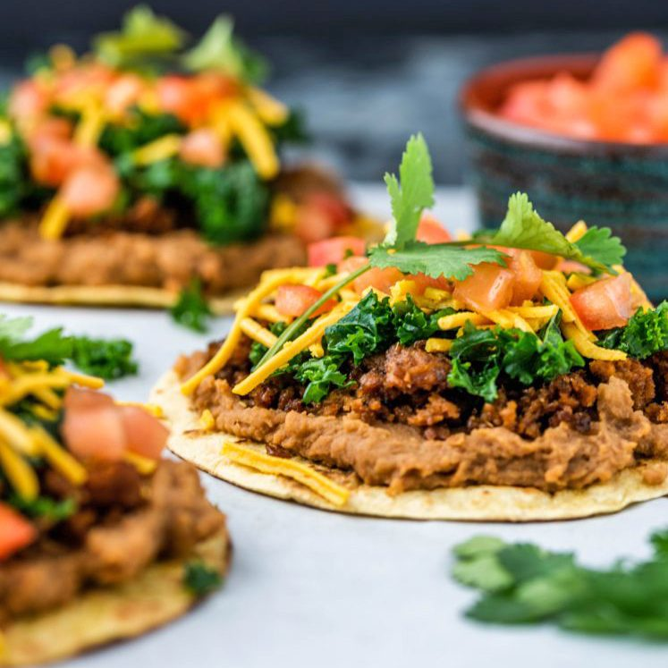 Beyond Burger Tostada with Marinated Kale