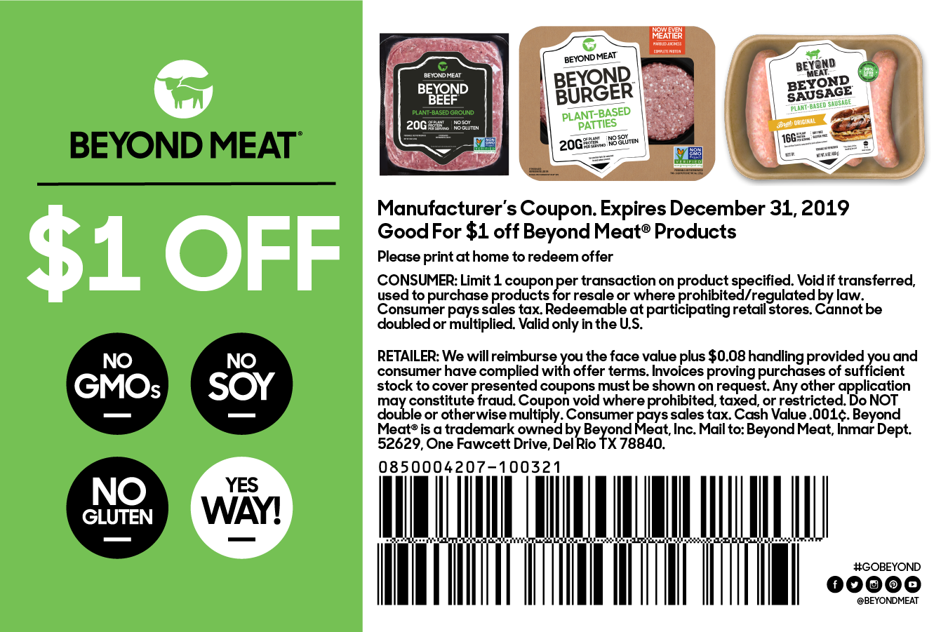 Coupon - Beyond Meat - The Future of Protein™