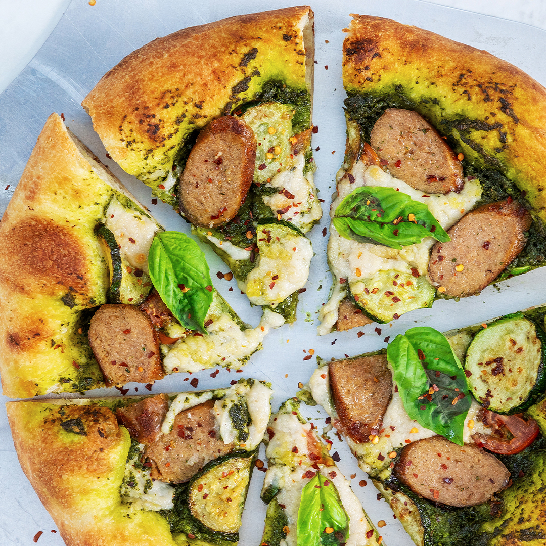 Beyond Sausage Pesto Pizza