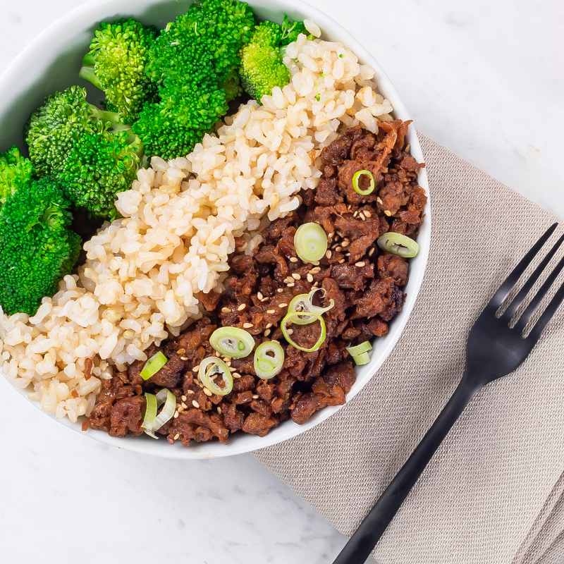 Beyond Beef Broccoli Bowl
