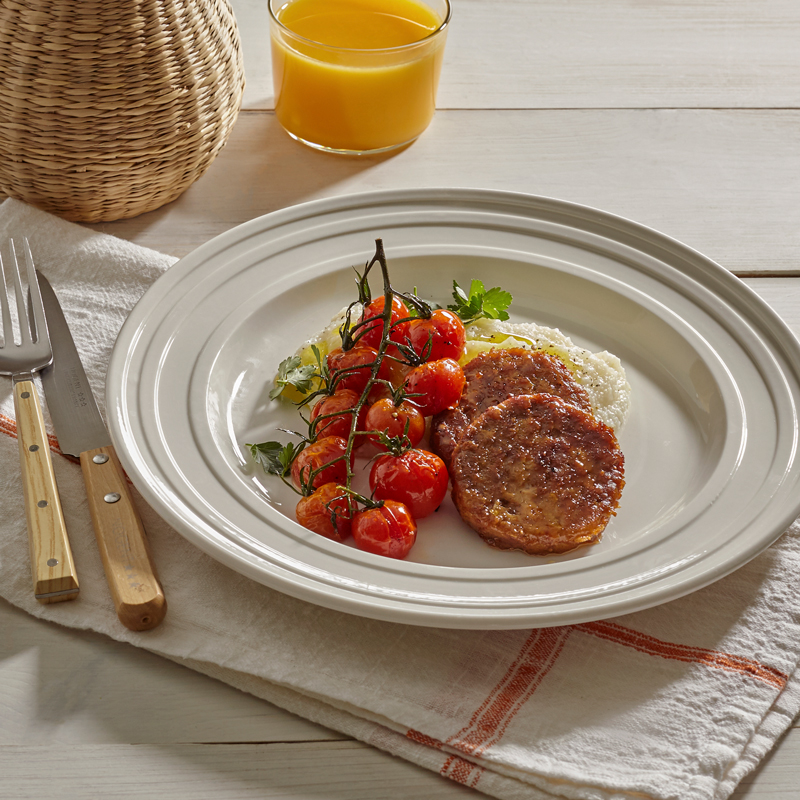 Beyond Breakfast Sausage® with Creamy Grits and Roasted Tomatoes