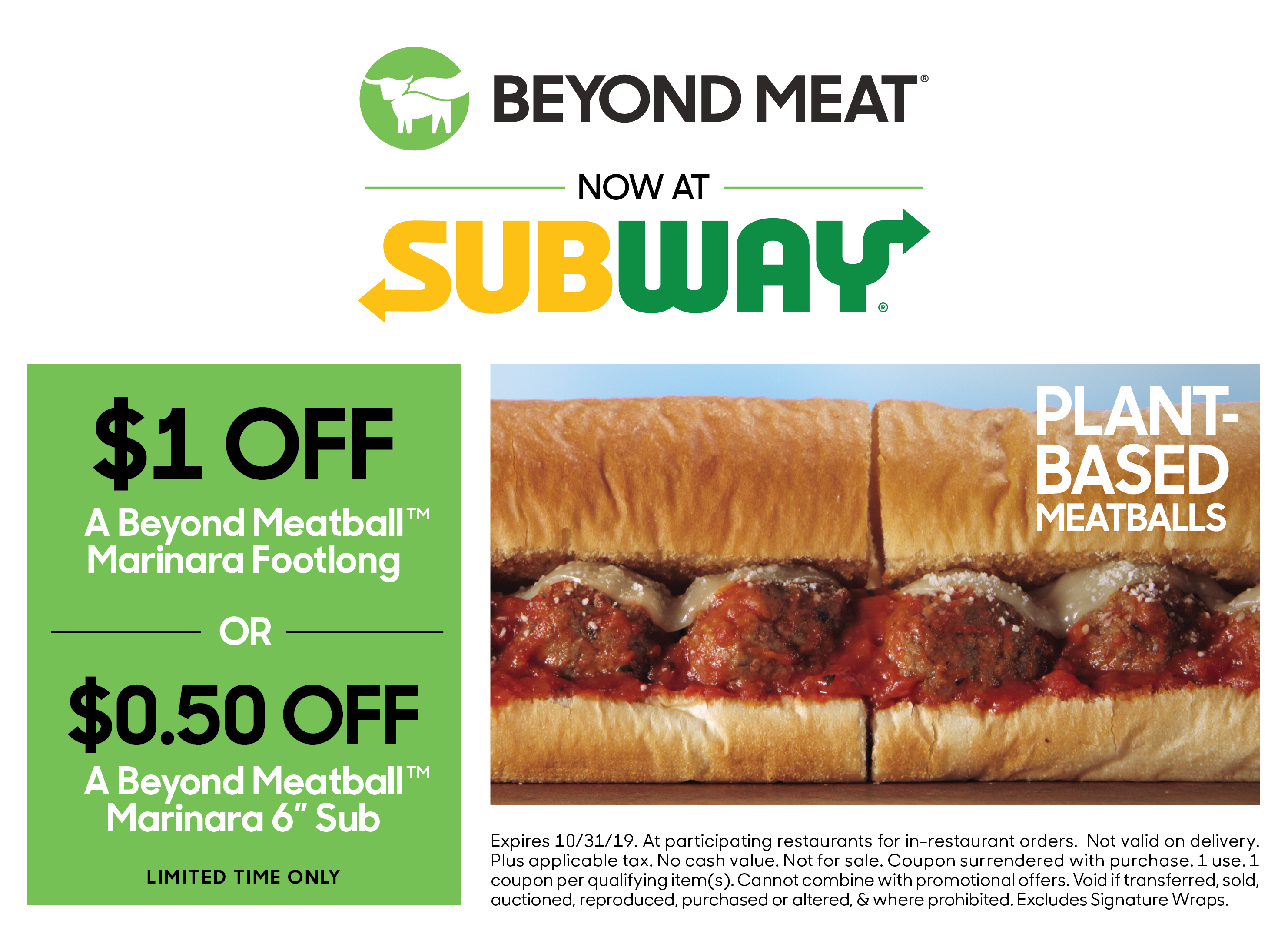 Coupon Subway Beyond Meat Go Beyond