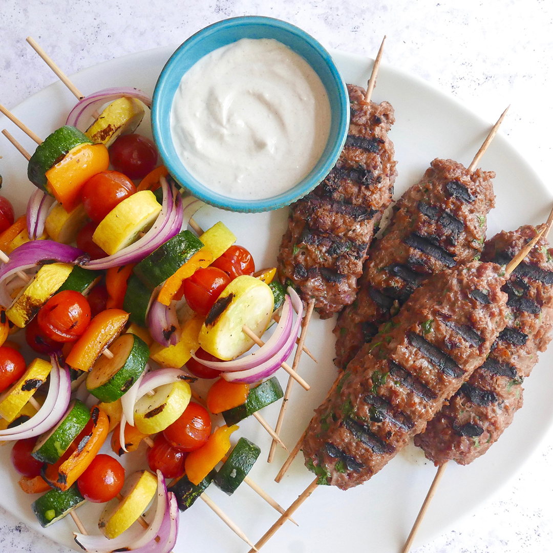 WW Beyond Beef Kofta and Vegetable Kebabs
